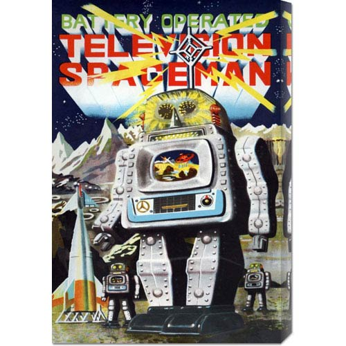 Global Gallery Battery Operated Television Spaceman: 22 x 14.74 Canvas Giclees, Wall Art