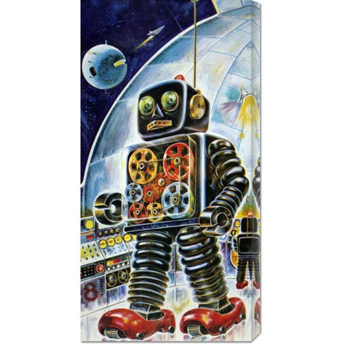 Global Gallery Gear Robot: 22 x 11 Canvas Giclees, Wall Art