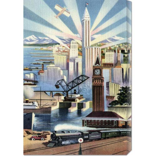 Global Gallery Modern Deco Empire: 20.1 x 30 Canvas Giclees, Wall Art