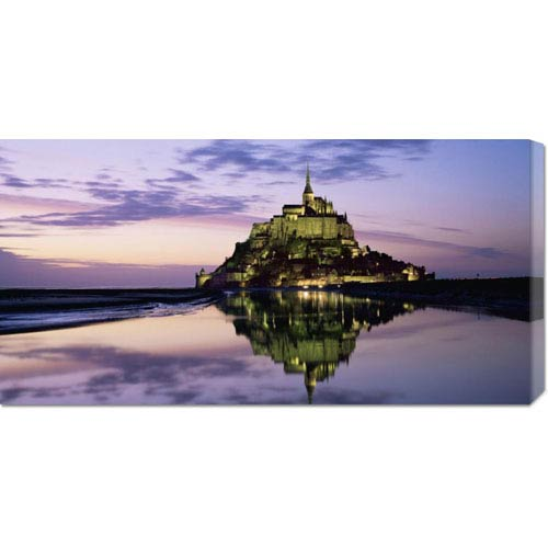 Global Gallery Mont St. Michel at Dusk by Roy Rainford: 36 x 18 Canvas Giclees, Wall Art