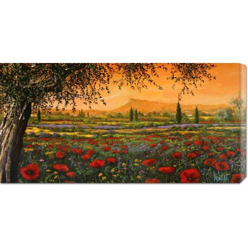 Global Gallery Pianura in Fiore by Tebo Marzari: 36 x 18 Canvas Giclees, Wall Art