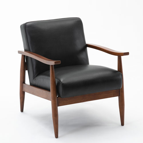 Austin Black and Walnut Wooden Base Accent Chair