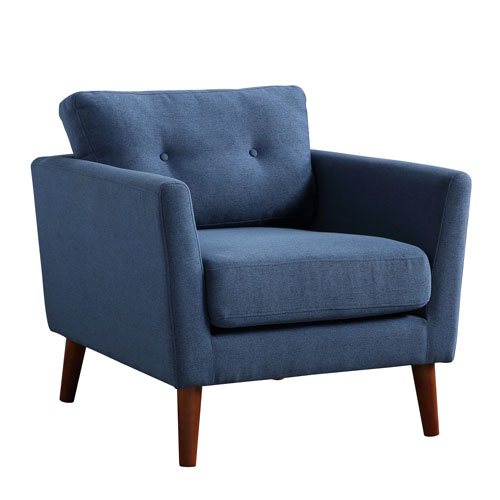 Luna Cadet Blue and Brown Arm Chair