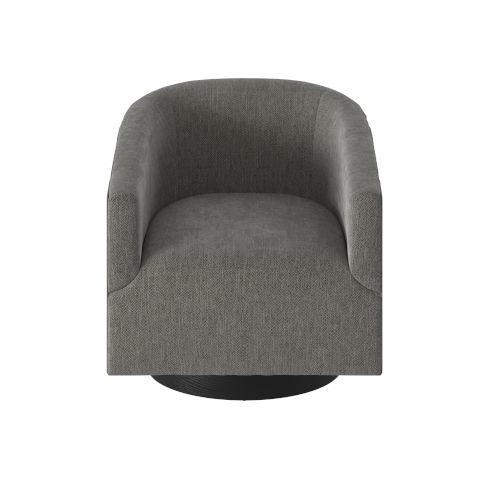 Geneva Charcoal Wood Base Swivel Chair