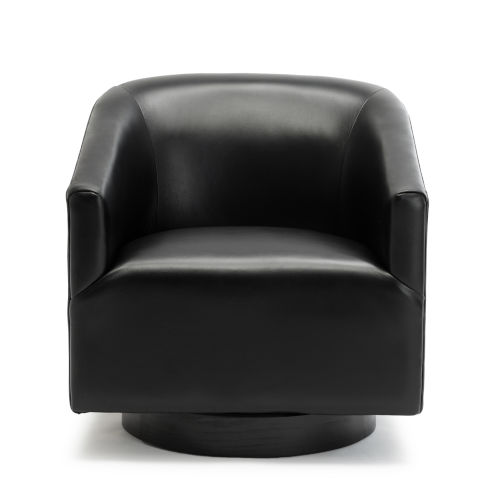 Gaven Black Wood Base Swivel Chair