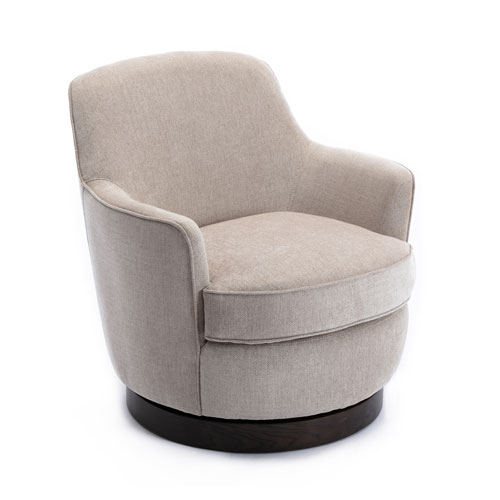 Reese Oatmeal and Black Wooden Base Swivel Chair
