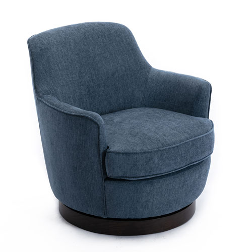 Reese Cadet Blue and Black Wooden Base Swivel Chair