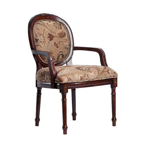 Traditional Oval Back Chair with Intricate Floral Carving