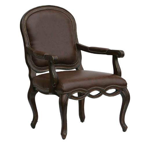 Brown Bonded Leather Chair with Elegant Detailed Carvings with Nail Head Trim
