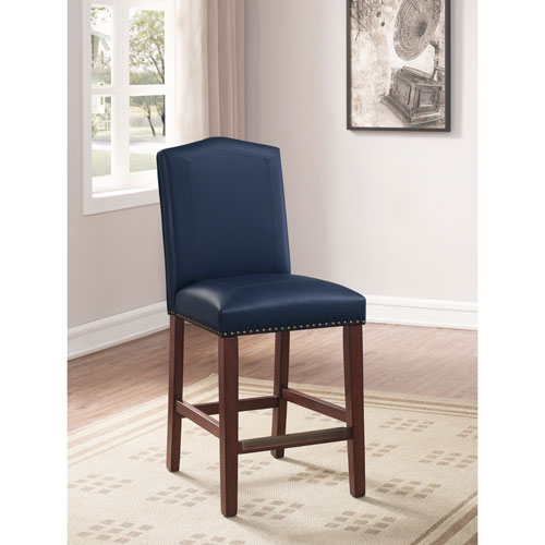 Carteret Navy Leather Counter Stool