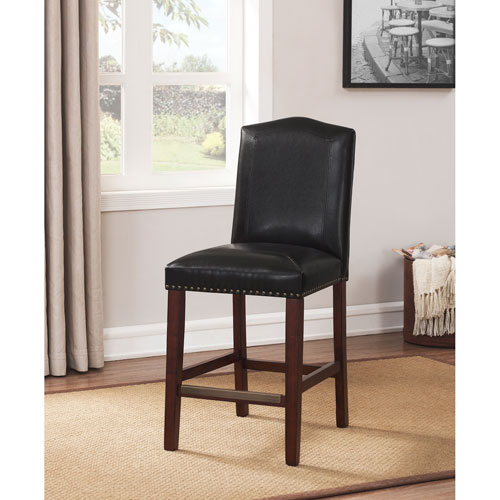 Carteret Brown Leather Counter Stool