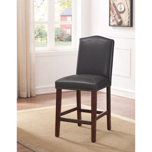 Comfort Pointe Carteret Gray Leather Counter Stool