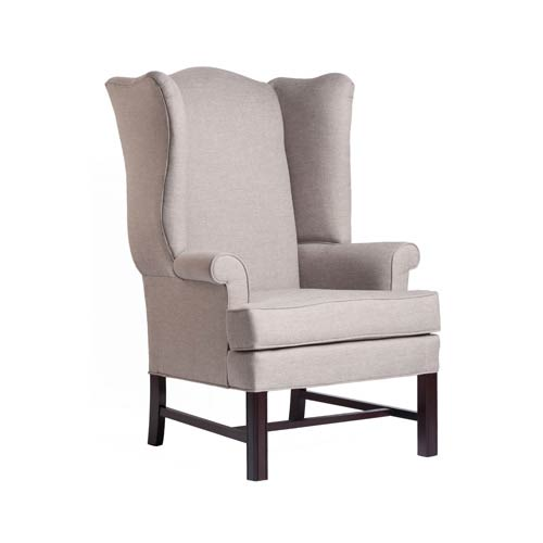 Comfort Pointe Jitterbug Cherry Chippendale Wing Chair with Linen Fabric
