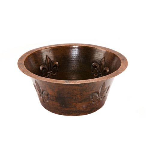 Round Copper 16-Inch Bar Sink with Fleur De Lis and 2-Inch Drain Size
