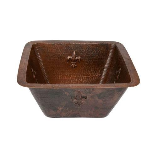 Premier Copper Products Square Fleur De Lis Copper 15-Inch Bar/Prep Sink with 3.5-Inch Drain Size