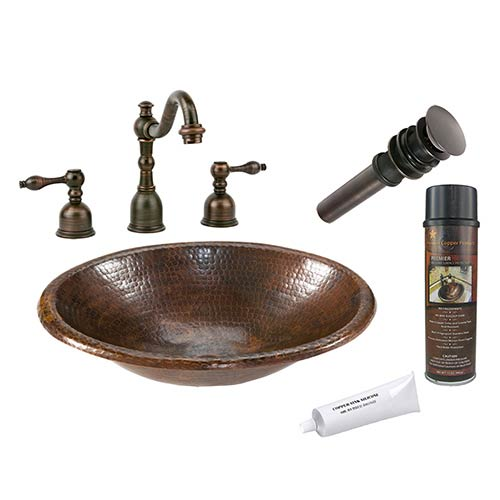 Small Oval Low-Lead Hammered Copper Self Rimming Bathroom Sink Package