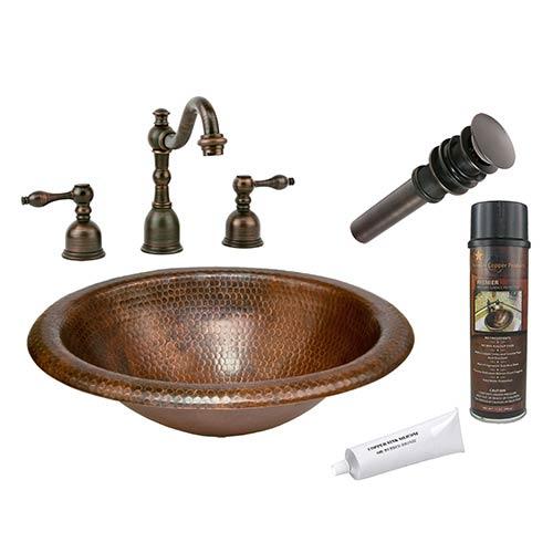 Wide Rim Oval Low-Lead Hammered Copper Self Rimming Bathroom Sink Package