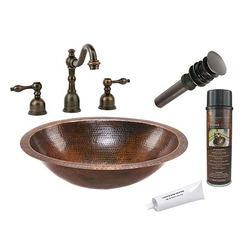 Premier Copper Products Oval Low-Lead Hammered Copper Under Counter Bathroom Sink Package