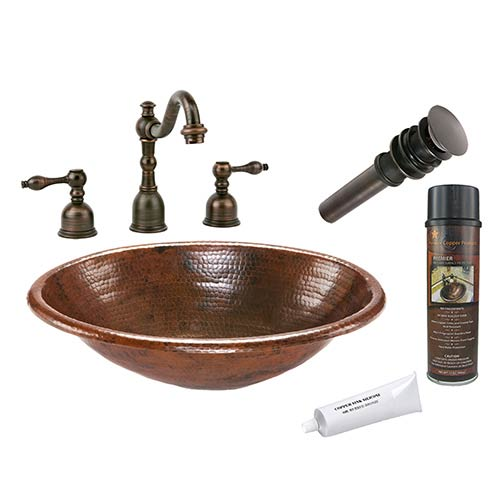Premier Copper Products Oval Low-Lead Hammered Copper Self Rimming Bathroom Sink Package