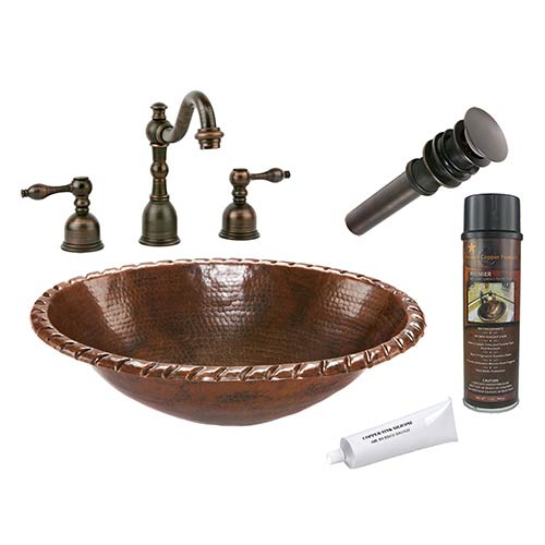 Premier Copper Products Oval Roped Rim Low-Lead Hammered Copper Self Rimming Bathroom Sink Package
