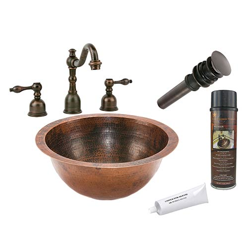 Premier Copper Products Small Round 14-Inch Wide Low-Lead Hammered Copper Under Counter Bathroom Sink Package