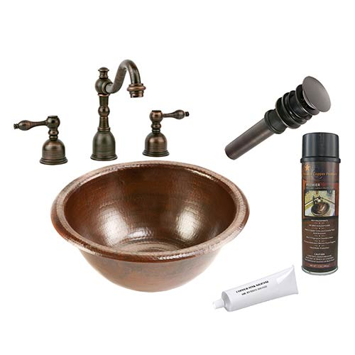 Premier Copper Products Small Round 14-Inch Wide Low-Lead Hammered Copper Self Rimming Bathroom Sink Package