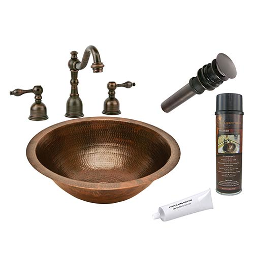 Round Low-Lead Hammered Copper Under Counter Bathroom Sink Package