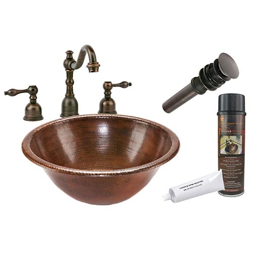 Premier Copper Products Round Low-Lead Hammered Copper Self Rimming Bathroom Sink Package