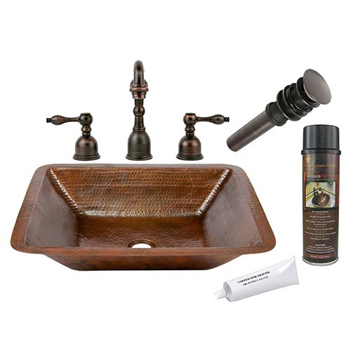 Premier Copper Products Rectangle Low-Lead Hammered Copper Under Counter Bathroom Sink Package