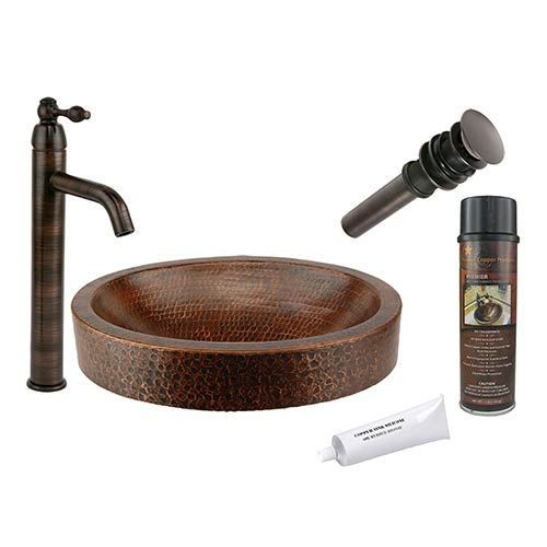 Premier Copper Products Compact Oval Skirted Low-Lead Hammered Copper Vessel Bathroom Sink Package
