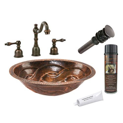 Premier Copper Products Oval Braid Low-Lead Hammered Copper Under Counter Bathroom Sink Package