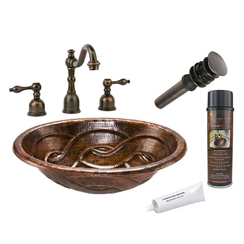 Oval Braid Low-Lead Hammered Copper Self Rimming Bathroom Sink Package