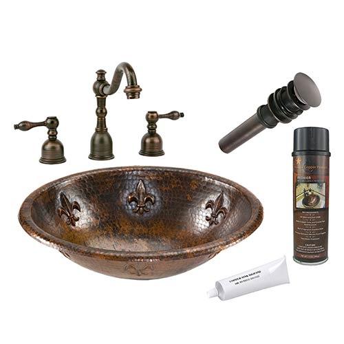 Oval Fleur De Lis Low-Lead Hammered Copper Self Rimming Bathroom Sink Package