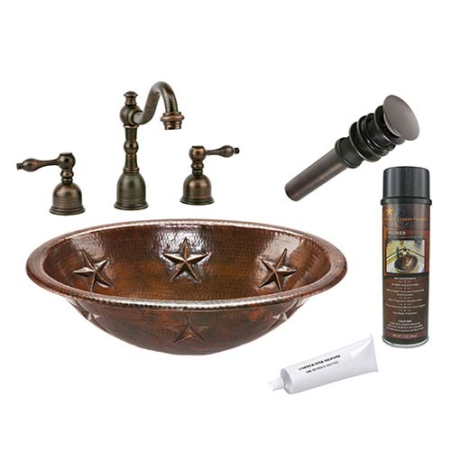 Premier Copper Products Oval Star Low-Lead Hammered Copper Self Rimming Bathroom Sink Package