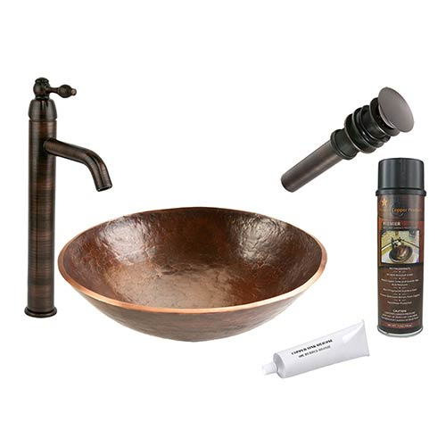 Round Hand Forged Old World Low-Lead Copper Vessel Bathroom Sink Package
