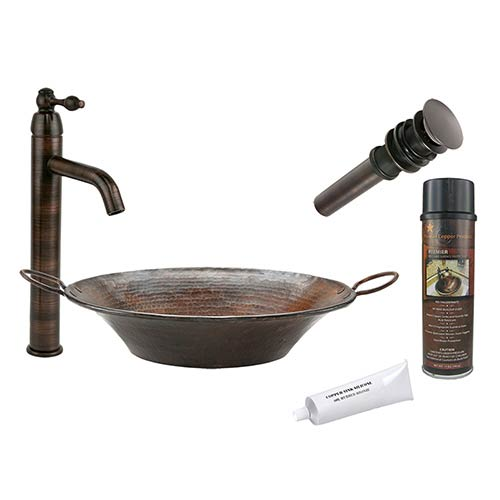 Round Miners Pan Low-Lead Hammered Copper Vessel Bathroom Sink Package