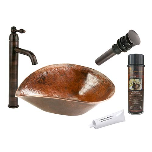 Premier Copper Products Free Form Hand Forged Old World Low-Lead Copper Vessel Bathroom Sink Package