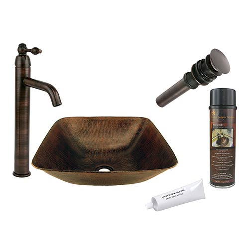 Square Hammered Low-Lead Copper Vessel Bathroom Sink Package