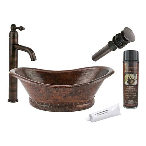Premier Copper Products Bath Tub Low-Lead Hammered Copper Vessel Bathroom Sink Package