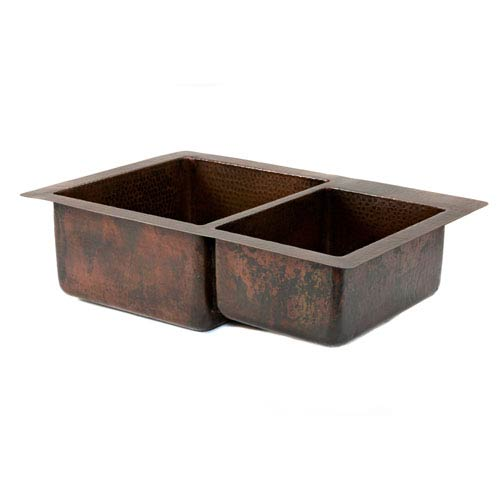Premier Copper Products Hammered Copper 33-Inch 60/40 Double Bowl Kitchen Sink