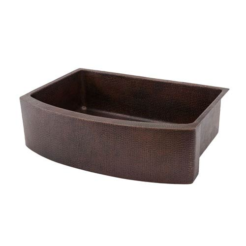 Premier Copper Products Hammered Copper 33-Inch Rounded Apron Single Bowl Kitchen Sink