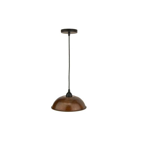 Hand Hammered Copper 10.5-Inch Dome Pendant Light