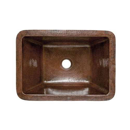Premier Copper Products Rectangle Hammered Copper Bathroom Sink
