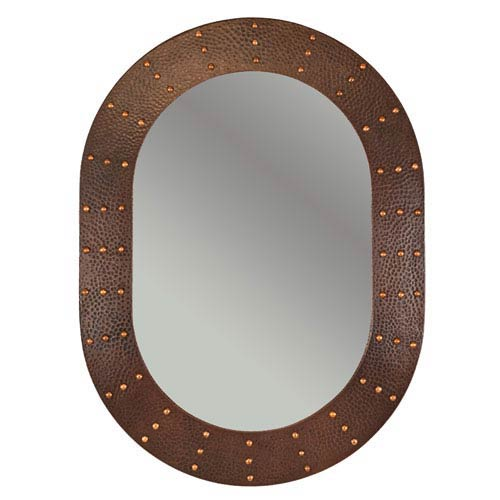 Premier Copper Products Hand Hammered Oval Copper 35-inch Mirror with Hand Forged Rivets