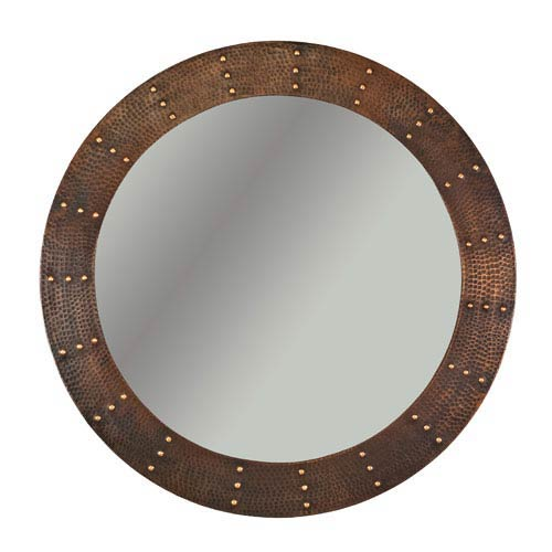 Premier Copper Products Hand Hammered Round Copper 34-inch Mirror with Hand Forged Rivets