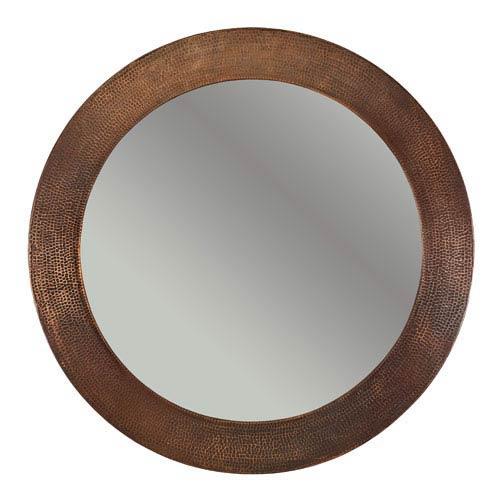 Hand Hammered Round Copper 34-inch Mirror