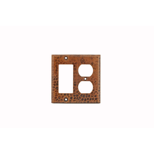 Premier Copper Products Copper Combination Switchplate, 2 Hole Outlet and Ground Fault/Rocker GFI Cover