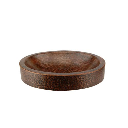 Compact Oval Skirted Hammered Copper Vessel Sink