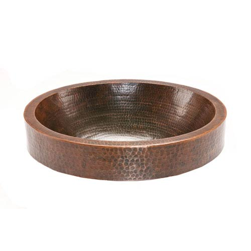 Premier Copper Products Oval Skirted Hammered Copper Vessel Sink  2007VO18SKDB_1