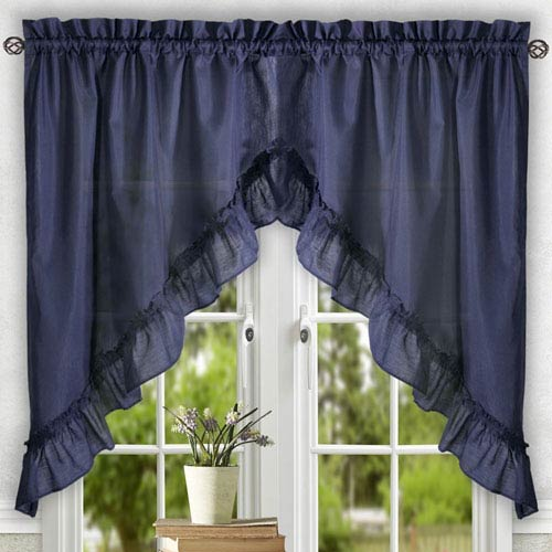 Ellis Curtain Stacey Navy 60 x 38-Inch Ruffled Swag Curtain